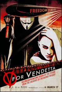 """V for Vendetta (Warner Brothers, 2005). Rolled, Near Mint. One Sheet (27"""" X 40"""") SS Advance. Action"""