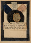 """Political:Ribbons & Badges, Abraham Lincoln: A Distinctive 1865 """"Badge of Mourning""""...."""