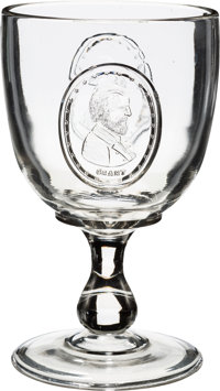 Grant & Wilson: 1872 Pressed Glass Campaign Goblet Picturing Both