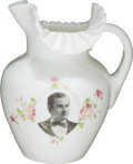 Political:3D & Other Display (1896-present), William Jennings Bryan: Superb Large Milk Glass Pitcher withYouthful Portrait....