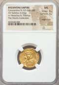 Ancients:Byzantine, Ancients: Constantine IV Pogonatus (AD 668-685) with Heraclius andTiberius. AV solidus (19mm, 4.43 gm, 7h). NGC MS 4/...