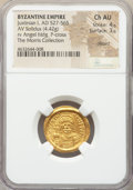 Ancients:Byzantine, Ancients: Justinian I the Great (AD 527-565). AV solidus (20mm,4.42 gm, 6h). NGC Choice AU 4/5 - 3/5, clipped....