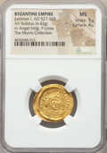 Ancients:Byzantine, Ancients: Justinian I the Great (AD 527-565). AV solidus (22mm,4.43 gm, 5h). NGC MS 5/5 - 4/5....