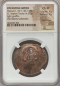Ancients:Byzantine, Ancients: Manuel I Comnenus (AD 1143-1180). EL aspron trachy (31mm,4.27 gm, 6h). NGC Choice XF 4/5 - 3/5, edge crimp,...