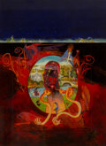 Mainstream Illustration, Victor Valla (American, 1937-2009). Tales of the Cthulhu Mythosbook cover, 1971. Oil on board. 13 x 9.5 in.. Initialed ...