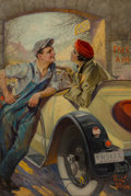 Mainstream Illustration, Paul C. Stahr (American, 1883-1953). Filling Station. Oil on canvas. 21.5 x 14.5 in.. Signed lower right. The IRI Co...