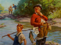 Mainstream Illustration, Hy (Henry) Hintermeister (American, 1897-1972). Fish ForSale. Oil on canvas. 21 x 28 in.. Signed upper right. TheI...