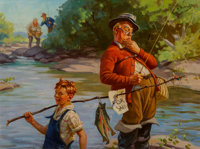 Hy (Henry) Hintermeister (American, 1897-1972) Fish For Sale Oil on canvas 21 x 28 in. Signed