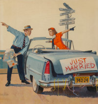 Gordon Johnson (American, 1924-1989) Just Married, American Weekly magazine cover, August 5, 1956 Go
