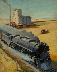 Frederick Blakeslee (American, 1898-1973) Northern Pacific at Grain Silo Oil on canvas 28 x 22 in