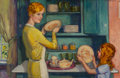 Mainstream Illustration, McClelland Barclay (American, 1891-1943). Helping Mother.Oil on canvas. 22.5 x 34.75 in.. Signed upper right. TheI...