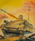 Mainstream Illustration, Alex Schomburg (American, 1905-1998). Robot Television Tank,Radio Craft magazine cover, April 1945. Watercolor and goua...