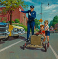 Mainstream Illustration, Arthur Saron Sarnoff (American, 1912-2000). Slow Down, calendarillustration, 1969. Oil on canvas. 36 x 36 in.. Signed w...