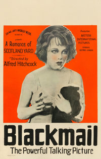 """Blackmail (Sono Art-World Wide Pictures, 1929). Good- on Cardstock. Window Card (14"""" X 22"""")"""