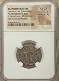 Ancients:Byzantine, Ancients: Heraclius (AD 610-641), with Heraclius Constantine andHeraclonas. AR hexagram (20mm, 6.55gm, 6h). NGC Choic...