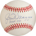 "Autographs:Baseballs, 1995-99 Joe DiMaggio ""HOF 55"" Single Signed Baseball...."