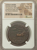 Ancients:Roman Imperial, Ancients: Diva Domitilla Elder (wife of Vespasian, died before AD 69). AE sestertius (35mm, 30.07 gm, 6h). NGC Fine 4/5 - 3/5....
