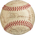 Autographs:Baseballs, 1968 Oakland Athletics Team Signed Baseball with Joe DiMaggio (27 Signatures)....