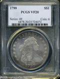 """Early Dollars: , 1799 S$1 VF20 PCGS. The current Coin Dealer Newsletter (Greysheet)wholesale """"bid"""" price is $1750.00...."""