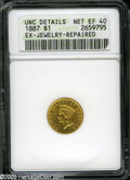 """Gold Dollars: , 1887 G$1 XF40--Ex-Jewelry, Repaired--ANACS, UNC Details. The current Coin Dealer Newsletter (Greysheet) wholesale """"bid"""" price..."""