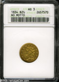 Early Quarter Eagles: , 1834 $2 1/2 No Motto Capped Bust AG3 ANACS....