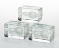 Decorative Arts, Continental, Harri Koskinen (Finnish, b. 1970). Three Block Lamps,designed 1997. Cast and frosted glass. 4 x 6-1/4 x 3-1/2 inches(1... (Total: 3 Items)
