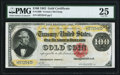 Large Size:Gold Certificates, Fr. 1209 $100 1882 Gold Certificate PMG Very Fine 25.. ...