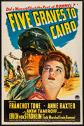 """Movie Posters:War, Five Graves to Cairo (Paramount, 1943). Folded, Very Fine-. One Sheet (27"""" X 41""""). War.. ..."""