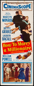 """Movie Posters:Comedy, How to Marry a Millionaire (20th Century Fox, 1953). Folded,Fine/Very Fine. Insert (14"""" X 36""""). Comedy.. ..."""