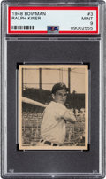 Baseball Cards:Singles (1940-1949), 1948 Bowman Ralph Kiner #3 PSA Mint 9 - Only One Higher. ...