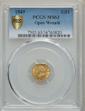 Gold Dollars, 1849 G$1 Open Wreath MS63 PCGS Gold Shield. PCGS Population:(265/279). NGC Census: (253/294). CDN: $850 Whsle. Bid for pro...