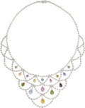 Estate Jewelry:Necklaces, Multi-Color Sapphire, Diamond, White Gold Necklace . ...