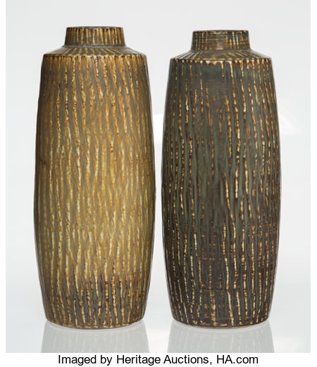 Gunnar Nylund (Swedish, 1904-1997)Pair of Floor Vases, 1950-1959, RörstrandGlazed stoneware21 x 7-1/2 inches (53.3... (Total: 2 Items)