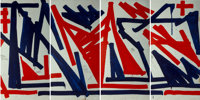 RETNA (American, b. 1979) Untitled, polyptych, 2016 Acrylic on panel, each 96 x 48 inches (243.8 ... (Total: 4)