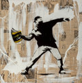 Fine Art - Painting, European:Contemporary   (1950 to present), Mr. Brainwash (French, b. 1966). Banksy Thrower, 2014. Mixedmedia on canvas. 42 x 42 x 3 inches (106.7 x 106.7 x 7.6 cm...