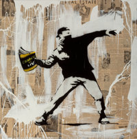 Mr. Brainwash (French, b. 1966) Banksy Thrower, 2014 Mixed media on canvas 42 x 42 x 3 inches (10