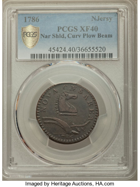 1786 COPPER New Jersey Copper, Narrow Shield, Curved Beam