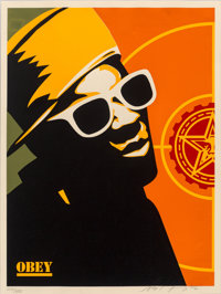 Shepard Fairey (b. 1970) Flava Flav Poster, 2002 Screenprint in colors on cream speckled paper 24