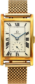 Timepieces:Wristwatch, Omega, Early Tank Watch, 18K Yellow Gold with 14K Bracelet, Manual Wind, Circa 1923. ...