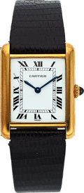 Timepieces:Wristwatch, Cartier, Tank, 18K Yellow Gold, Manual Wind, Circa 1980. ...