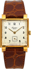 Timepieces:Wristwatch, Vacheron & Constantin, 18k Yellow Gold Fancy Lug Dress watch with Cartier Dial, Manual Wind, Circa 1940s. ...