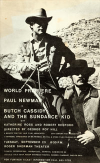 """Butch Cassidy and the Sundance Kid (Yale Film Associates, 1969). Rolled, Very Fine-. Poster (10.5"""" X 17"""")"""