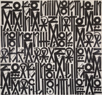 RETNA (American, b. 1979) Serenity of the mind States Moments of dark days allows Soaring like a search light -