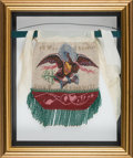 Antiques, Fine Victorian Beaded Silk Bag with Patriotic Eagle and Date of 1837....