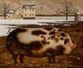 Fine Art - Painting, American, Charles Wysocki (American, 1900-1999). Mr. Pig. Oil oncanvas. 20 x 24 inches (50.8 x 61.0 cm). Signed lower right:Ch...