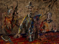 Fine Art - Painting, American, Benny Andrews (American, 1930-2006). Three Men. Oil onboard. 15 x 20 inches (38.1 x 50.8 cm). Signed lower right: BA...