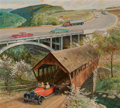 Fine Art - Painting, American, John Ford Clymer (American, 1907-1989). The New Bridge, AluminumLimited advertisement, 1959. Oil and gouache on board. ...