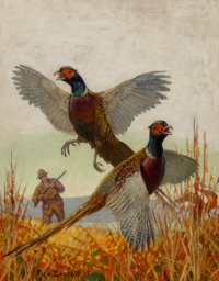 Fred T. Everett (American, 1892-1957) Pheasant Hunting, Outdoor Life magazine cover, 1933 Oil on can