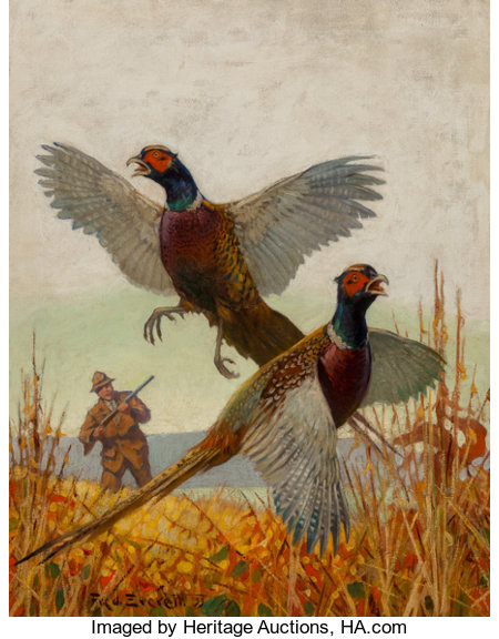 Fred T. Everett (American, 1892-1957)Pheasant Hunting, Outdoor Life Magazine cover, 1933Oil on canvas28 x 22 inche...