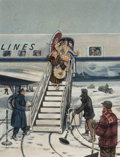 Fine Art - Painting, American, Stevan Dohanos (American, 1907-1994). Deplaning. Oil oncanvas. 37-1/2 x 28-1/2 inches (95.3 x 72.4 cm). Signed lower le...